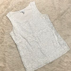 Charter Club White Lace Front Tank Top